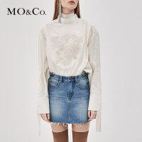 MOCO秋季新品图案刺绣绑带套头上衣MA183TOP120 摩安珂