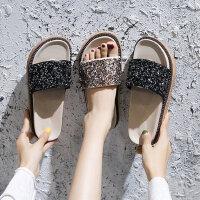 新款女士厚底沙滩凉拖鞋 韩版水钻亮片平底凉鞋女 外穿松糕厚底一字拖鞋女