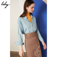 【此商品每满200减50,到手价249元】 Lily2019秋新款宽松蝙蝠袖显瘦绑带丝巾莱赛尔衬衫女119320C42
