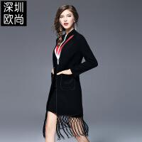 女装秋装新款欧美大码流苏双面呢毛呢大衣中长款开衫外套女 黑色