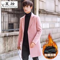 夏妆2017冬季新款加厚毛呢大衣男士中长款韩版修身呢子外套男装风衣潮