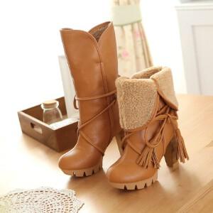 O'SHELL欧希尔新品135-YW08韩版粗跟女士中筒靴