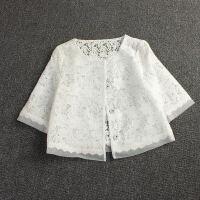 短外套女春秋18新款开衫百搭蕾丝披肩女夏欧根纱小香风白色空调衫 白色