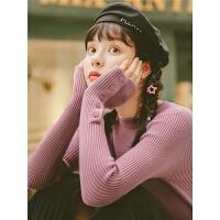 纯色圆领针织衫秋装2019新款女韩版洋气套头毛衣修身chic打底衫