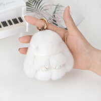 獭兔兔子皮草挂件毛绒装死兔萌兔手机包包挂饰小兔子汽车钥匙扣 白色 8厘米精品版