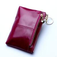 七夕礼物2018新款头层牛皮短款女士真皮钱包大容量钱包手拿包零钱包 紫红色