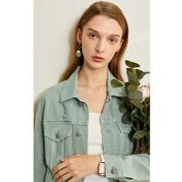 【到手价:210元】Amii极简时尚百搭100%棉牛仔外套女2020春季新款潮宽松休闲短外套