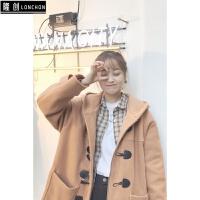 2017韩版秋冬装新款宽松中长款牛角扣毛呢外套女羊绒呢子大衣 X