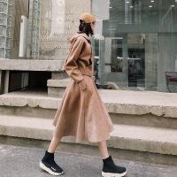 卫衣女连帽秋冬2018新款太空棉短款上衣套装口袋高腰半身裙两件套
