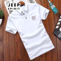 吉普JEEP短袖t恤男士服装夏装翻领舒适棉薄款短袖T恤男士简约棉质打底衫