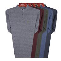 春秋季薄款中老年男士长袖T恤立领棉质宽松打底衫中年大码男体恤