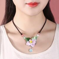 琉璃锁骨链女短款花朵琉璃项链装饰夏季百搭脖子饰品可调节