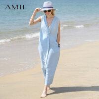 AMII极简小清新心机镂空V领100%亚麻连衣裙2018夏装茧型度假长裙