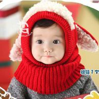 婴儿帽子0-2岁男女童宝宝帽套头帽儿童毛线帽秋天护耳针织帽冬季