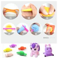 玩具橡皮泥套装24色轻粘土儿童彩泥雪花太空泥纸粘土