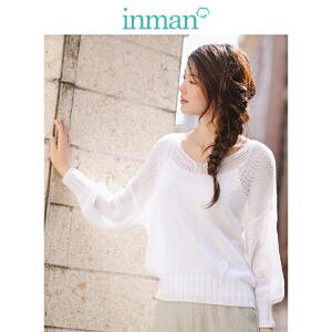 茵曼2018新款低领白色蝙蝠袖镂空毛衣罩衫薄款小吊带两件套女【1881132344】