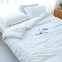 北欧风棉泡泡纱四件套简约水洗棉棉被套床单1.8/2.0m床上用品