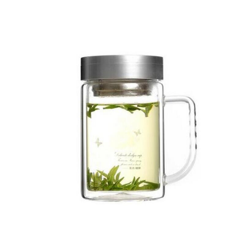 富光双层玻璃带盖办公杯700B-520 过滤网耐热茶杯 520ml