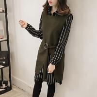 韩观秋冬新款宽松条纹衬衫毛呢背心连衣裙两件套女装韩版气质时尚套装