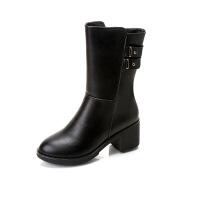 2017秋冬新款PU皮中筒靴粗跟女中跟马丁靴大码女靴子 黑色