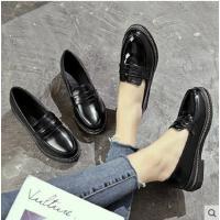 黑色单鞋女新款粗跟女鞋英伦学院风复古小皮鞋一脚蹬乐福鞋