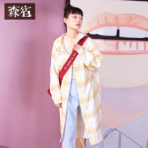 【尾品直降】森宿中长款衬衣chic夏装2018新款文艺ins满印格纹连帽衬衫女