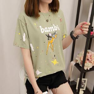 RANJU 然聚 2018女装夏季女装新品新款夏季短袖T恤女士韩版百搭学生衣服夏装新款女装上衣潮