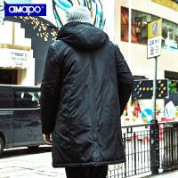 【限时秒杀价:174元】AMAPO潮牌大码男装冬季加肥加大码宽松加厚中长款棉衣肥佬外套男