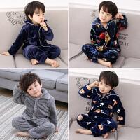 法兰绒儿童睡衣男童秋冬季加绒加厚珊瑚绒套装男孩小孩宝宝家居服