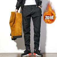 男士魔术贴收口加绒加厚冬季青年牛仔裤加肥加大码复古黑色小脚裤 加绒款