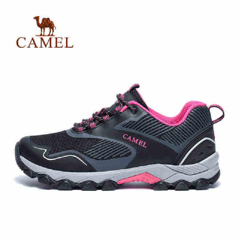 camel骆驼户外徒步鞋女 轻质网布舒适回弹减震登山鞋