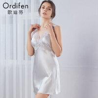 【超品价:909】欧迪芬女士睡裙商场同款性感镂空露背无袖桑蚕丝睡裙OH8602