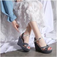 坡跟凉鞋女仙女风时尚百搭一字带网红同款罗马鞋防水台高跟女鞋潮