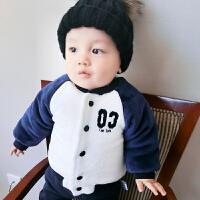 婴儿外套装男童秋冬装加绒加厚保暖婴幼儿女童宝宝春装0岁1卫衣服