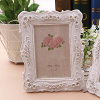 6寸7寸10寸白色欧式复古婚纱照摆台结婚照树脂相片框韩国田园相框