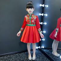 童装演出服主持人秋冬 儿童礼服公主裙女童旗袍裙蓬蓬裙花童中国风 红 色