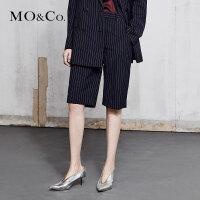 MOCO春季新品高腰口袋条纹五分西裤女MA181SOT102 摩安珂