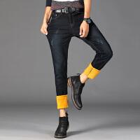 秋冬季加绒加厚牛仔裤男韩版修身型小脚裤时尚青年男裤子潮流弹力 深蓝色