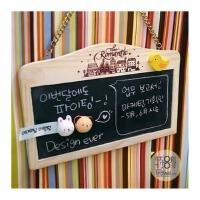 陆捌壹肆 韩国田园留言板 原木挂链式 磁性小黑板 白板挂式双面黑板 1个装