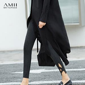 【大牌清仓 5折起】Amii[极简主义]休闲镂空装饰条打底裤2018春修身薄款九分裤外穿