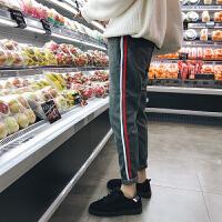 秋季裤子休闲裤韩版潮流男士修身小脚裤运动裤秋冬长裤 灰色