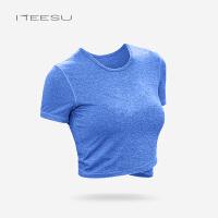瑜伽服女健身房秋冬季专业运动T恤带胸垫跑步短袖速干透气上