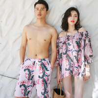 情侣泳衣罩衫遮肚比基尼三件套海边度假男士沙滩裤泡温泉泳装 其他颜色