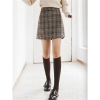 格子包臀半身裙冬季女装2019新款时尚韩版高腰港味chic短款A字裙