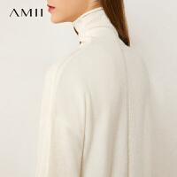 Amii空气感羊绒毛衣女秋新款高领羊毛上衣红色套头宽松针织衫