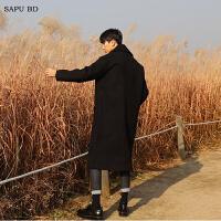毛呢外套男韩版青年羊绒大衣男单排扣呢子大衣长款加厚风衣冬季潮 黑色