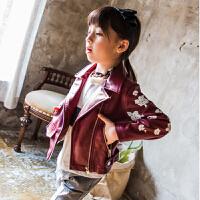 2018春秋季韩版童装新款女童皮衣翻领皮夹克衫印花软pu皮外套拉链