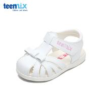 天美意夏季新款女童半包头防踢凉鞋1-3岁宝宝防滑软底公主鞋DX7167