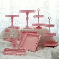 粉色架套装 婚庆甜品台铁艺盘 欧式婚礼点心盘 托盘组合