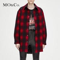 MOCO冬季新品宽格纹格子翻领中长款羊毛外套女MA184COT101 摩安珂